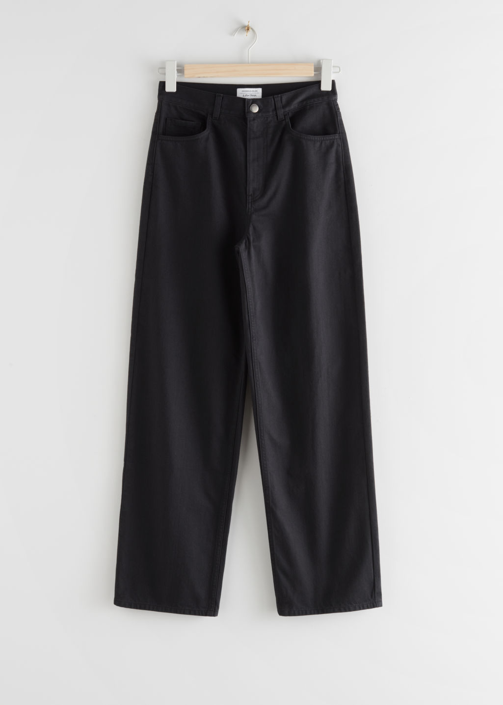 StillLife Front Image of Stories Wide High Rise Trousers in Black