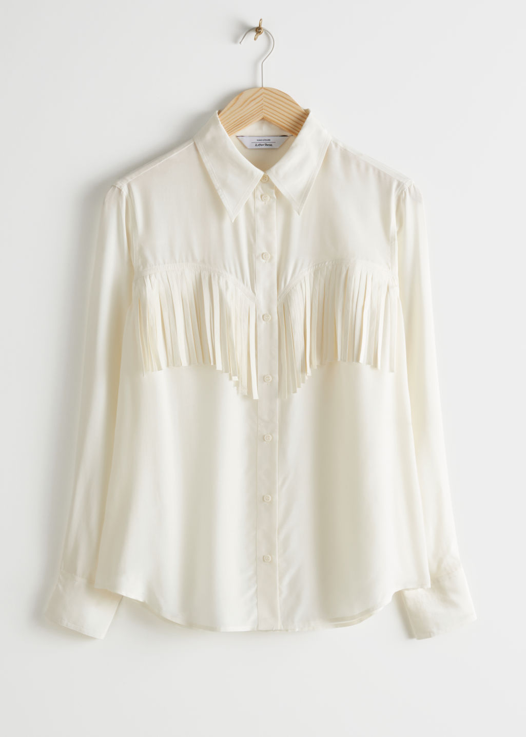 StillLife Front Image of Stories Button Up Fringe Shirt in White