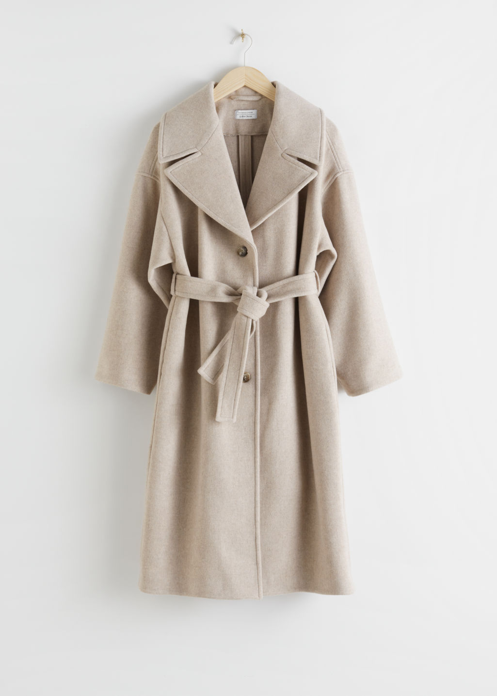 StillLife Front Image of Stories Oversized Wool Blend Belted Coat in White
