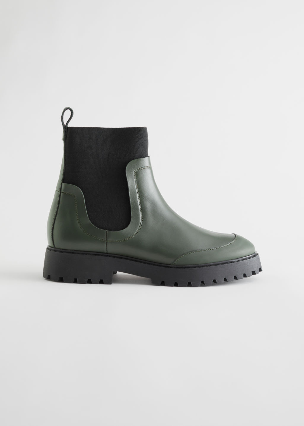 StillLife Left Image of Stories Elasticated Leather Chelsea Boots in Green
