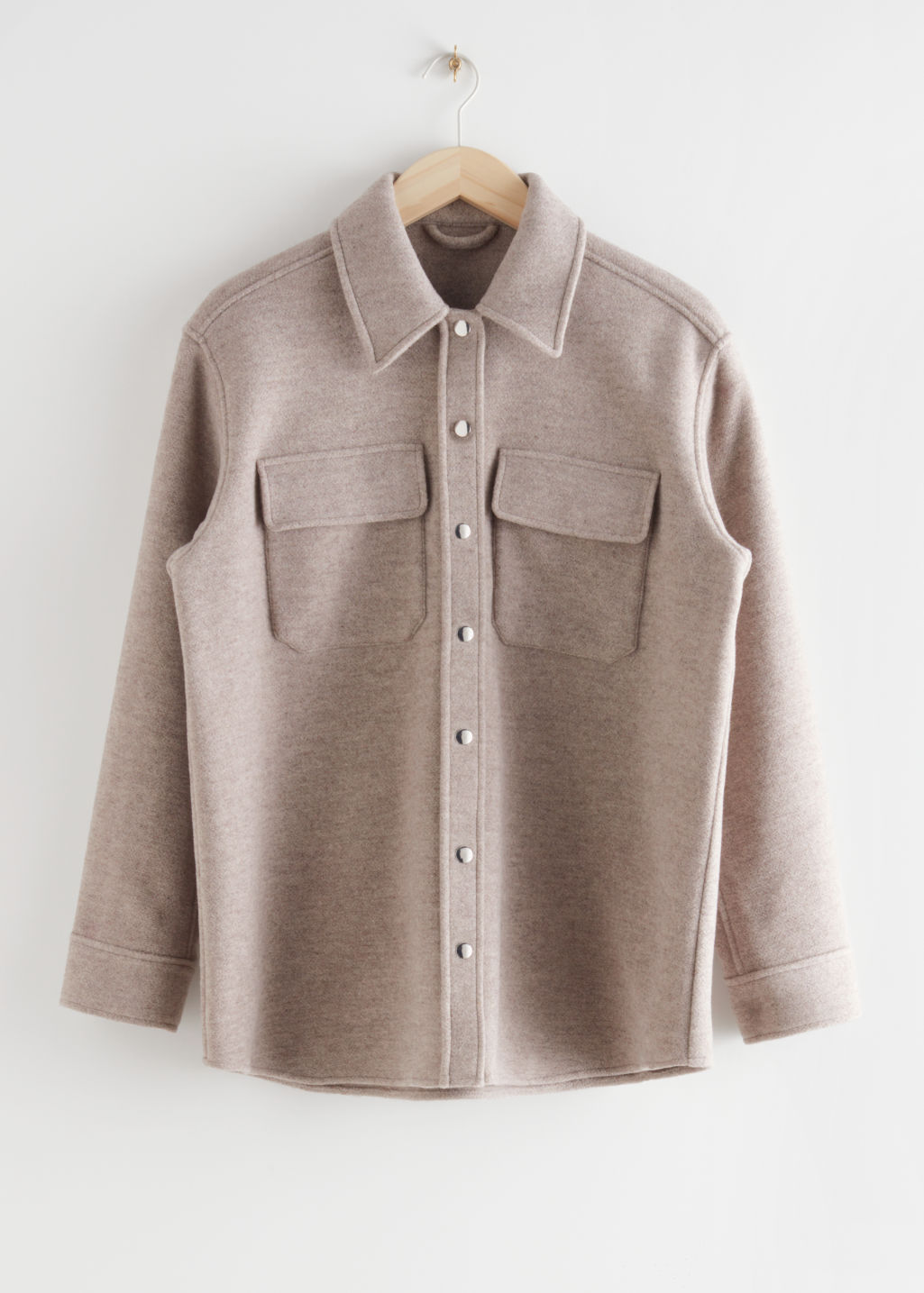 StillLife Front Image of Stories Oversized Wool Blend Workwear Shirt in Brown