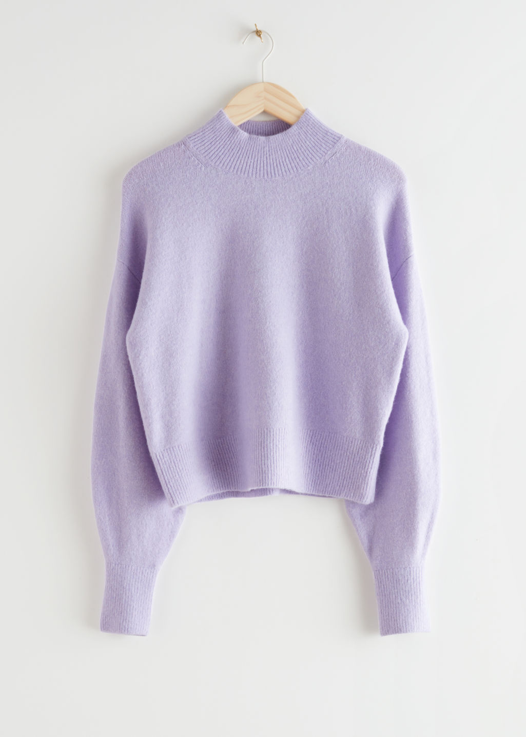 StillLife Front Image of Stories Mock Neck Sweater in Purple