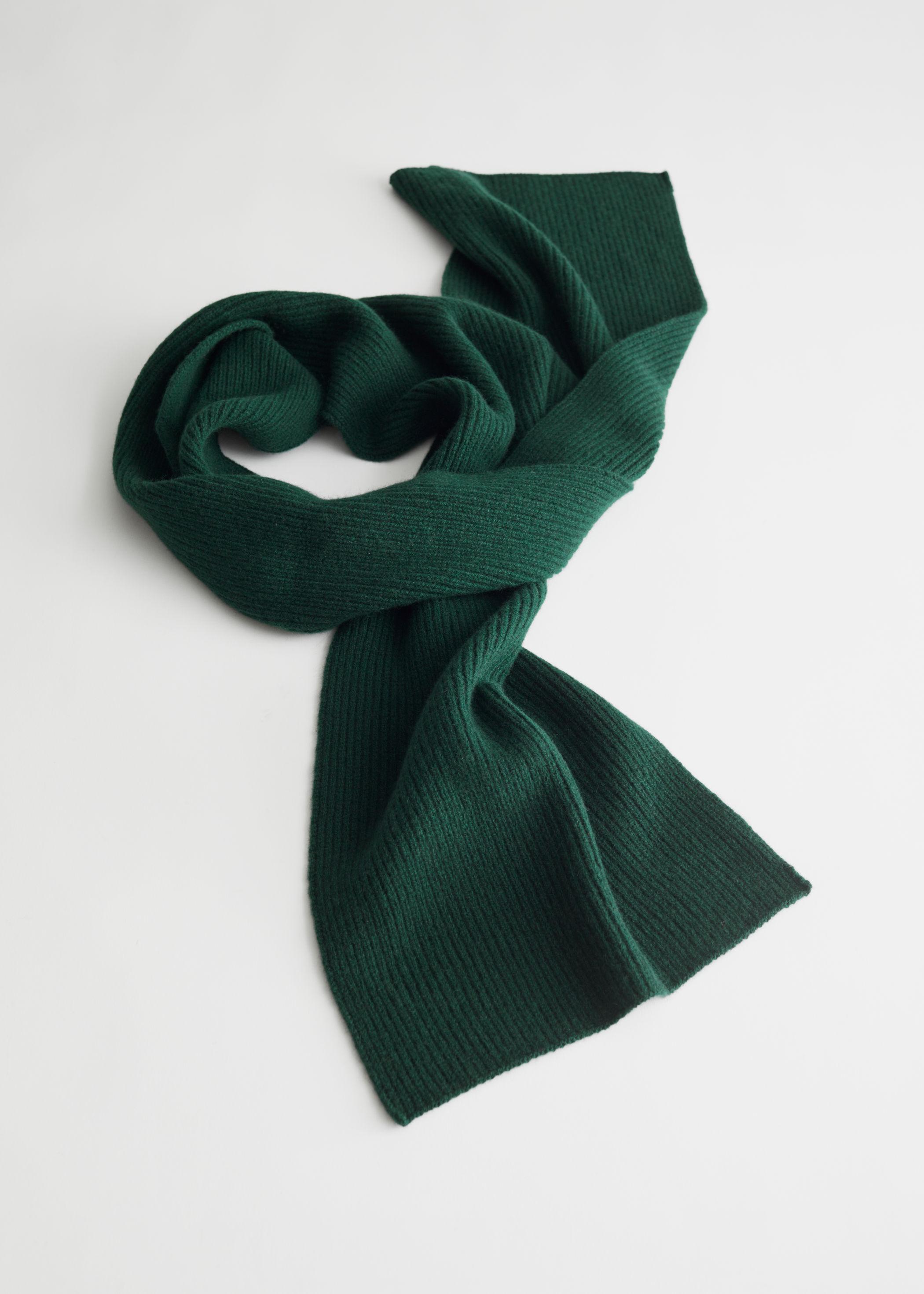 앤 아더 스토리즈 캐시미어 스카프 & OTHER STORIES Cashmere Ribbed Knit Scarf,Dark Green