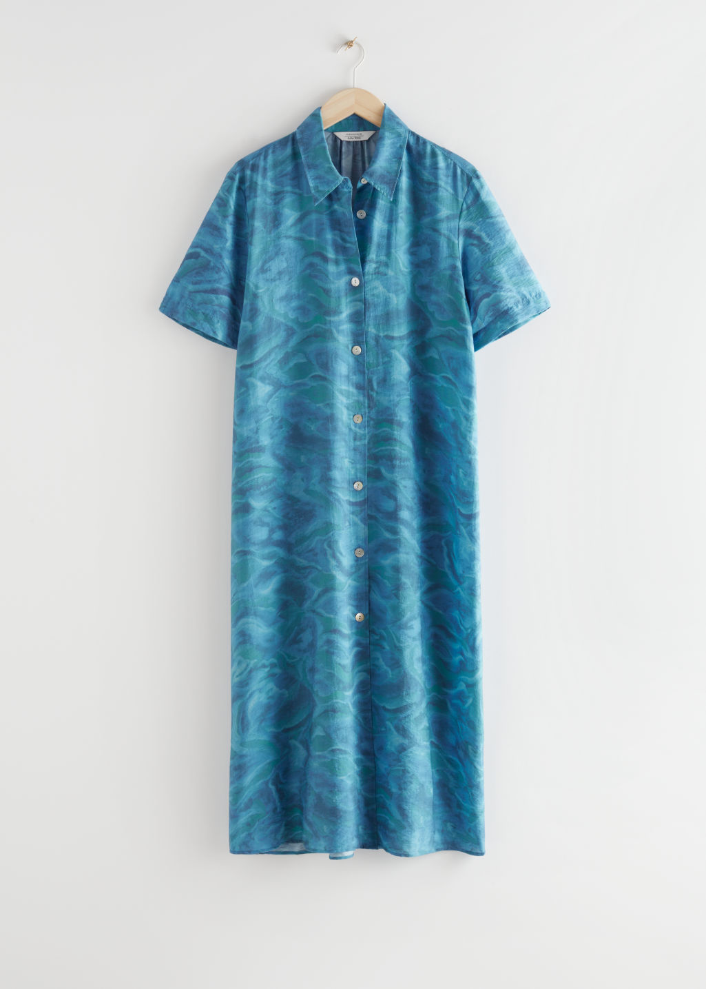 StillLife Front Image of Stories Buttoned Maxi Shirt Dress in Blue