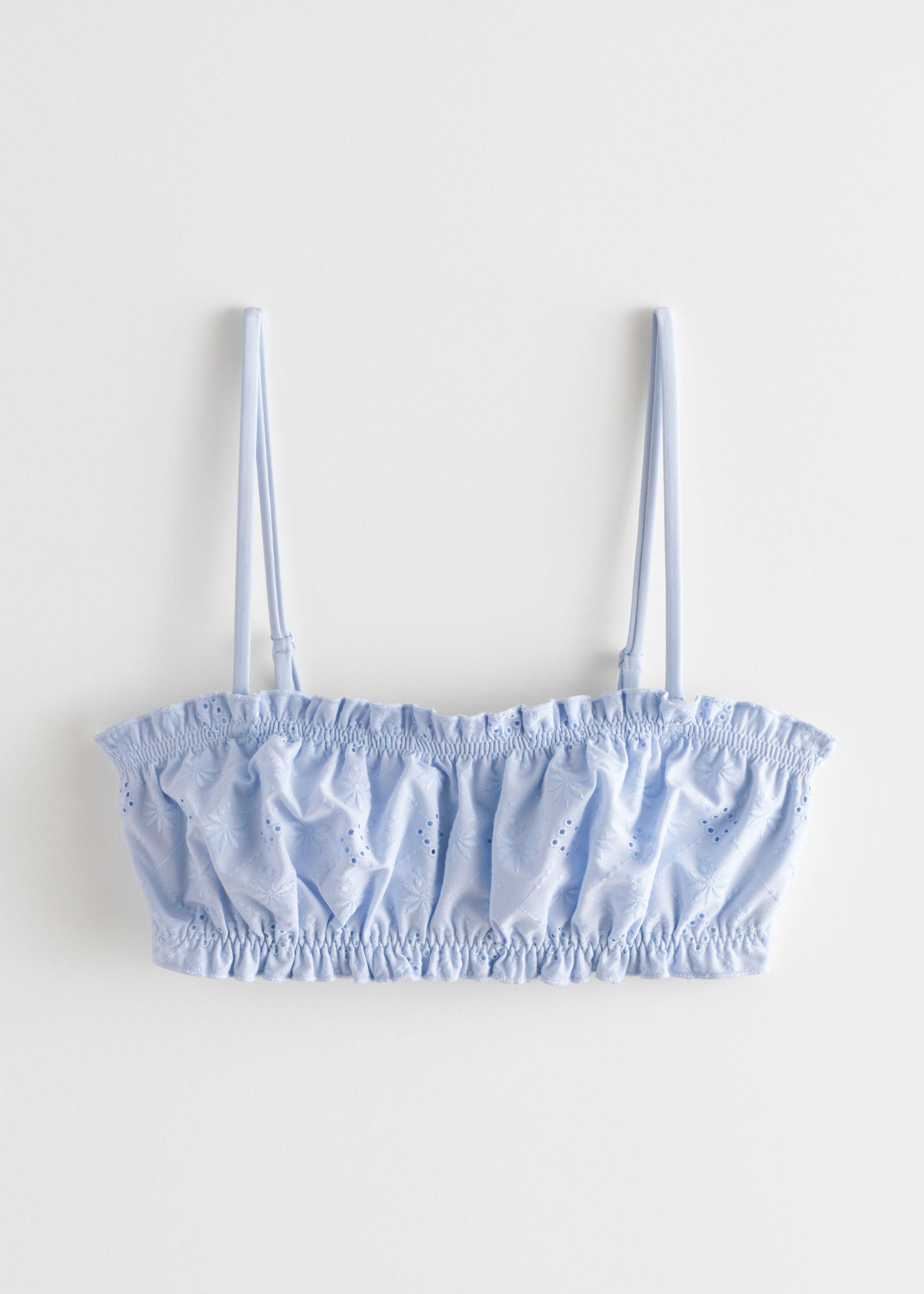 앤 아더 스토리즈 비키니 상의 & OTHER STORIES Eyelet Embroidered Bandeau Bikini Top,Light Blue