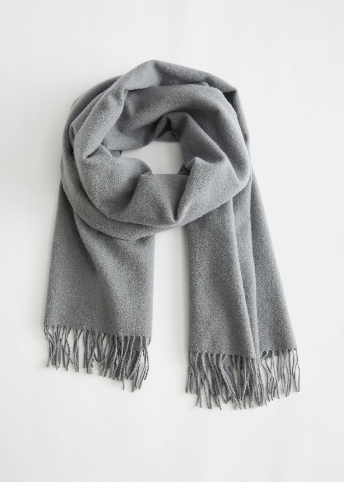 앤 아더 스토리즈 머플러 & OTHER STORIES Fringed Wool Blanket Scarf,Mid Grey