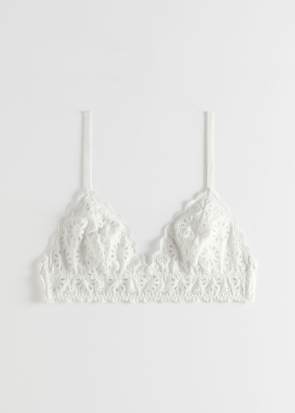 StillLife Front Image of Stories Eyelet Embroidered Soft Bra in White