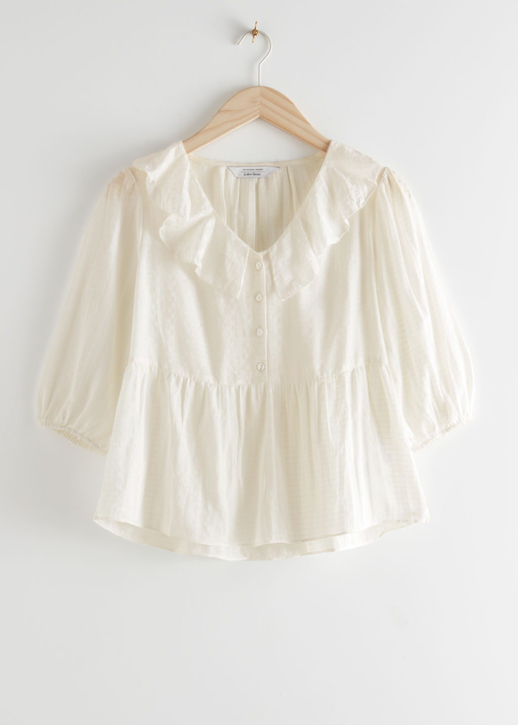 StillLife Front Image of Stories Relaxed Ruffle Collar Top in White