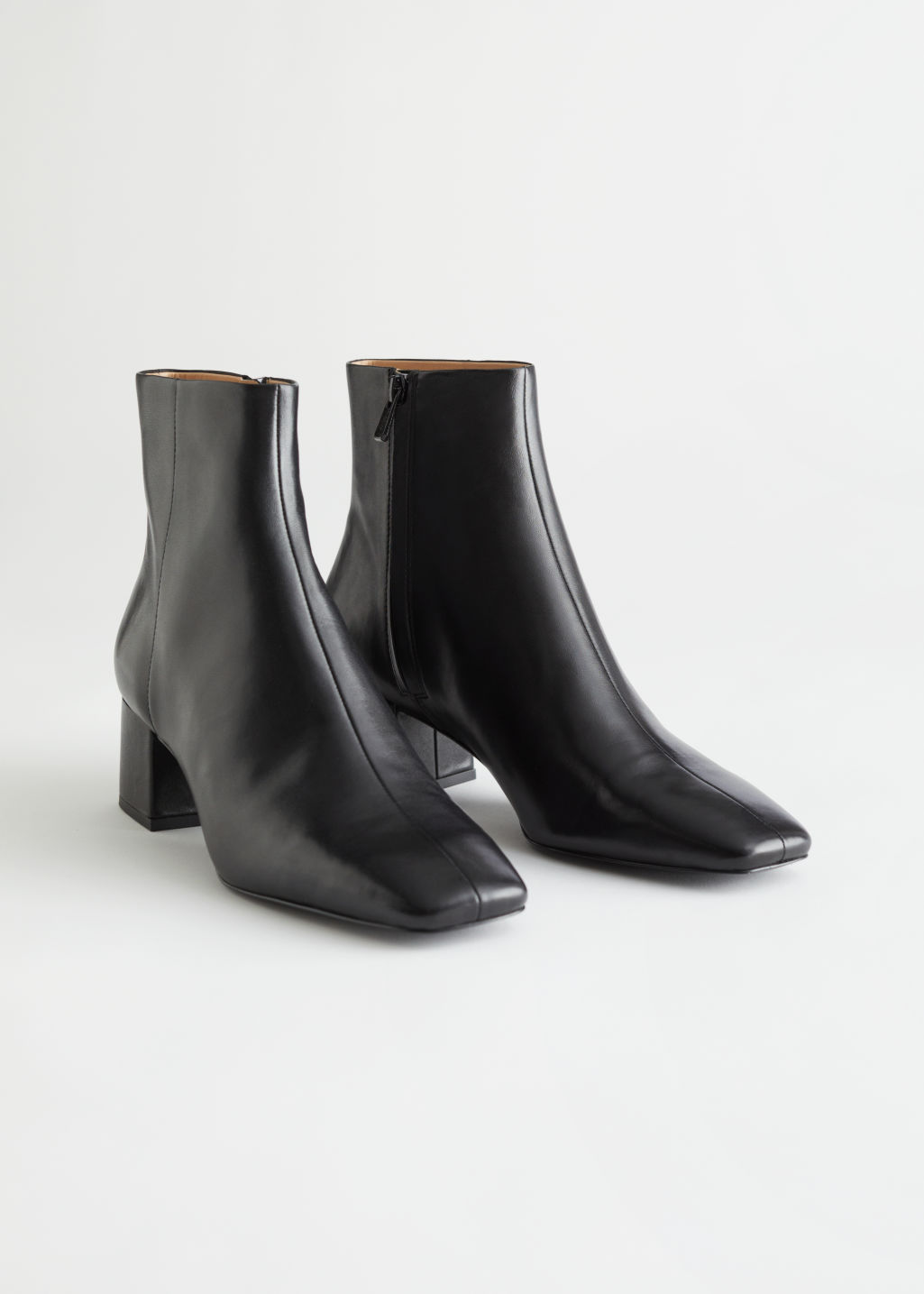 StillLife Front Image of Stories Leather Heeled Ankle Boots in Black