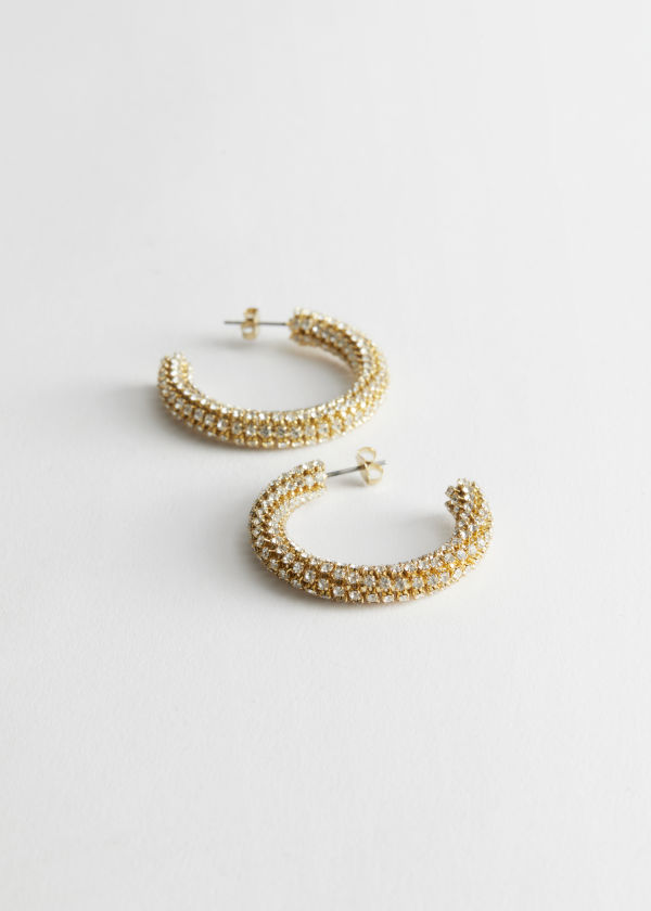Rhinestone Stripe Hoop Earrings