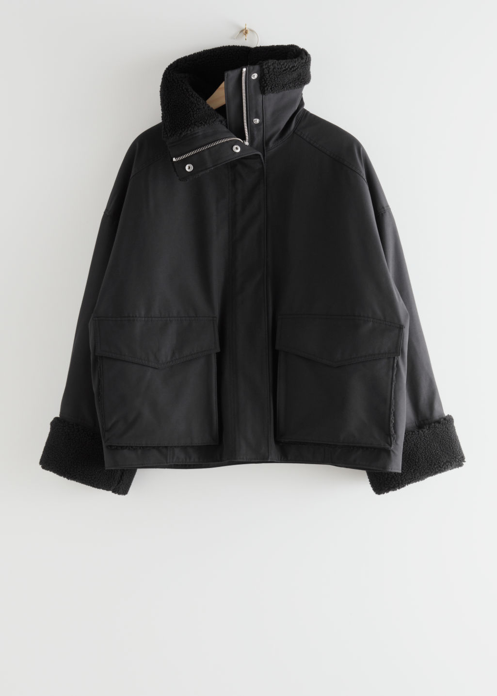 StillLife Front Image of Stories Boxy Shearling Jacket in Black