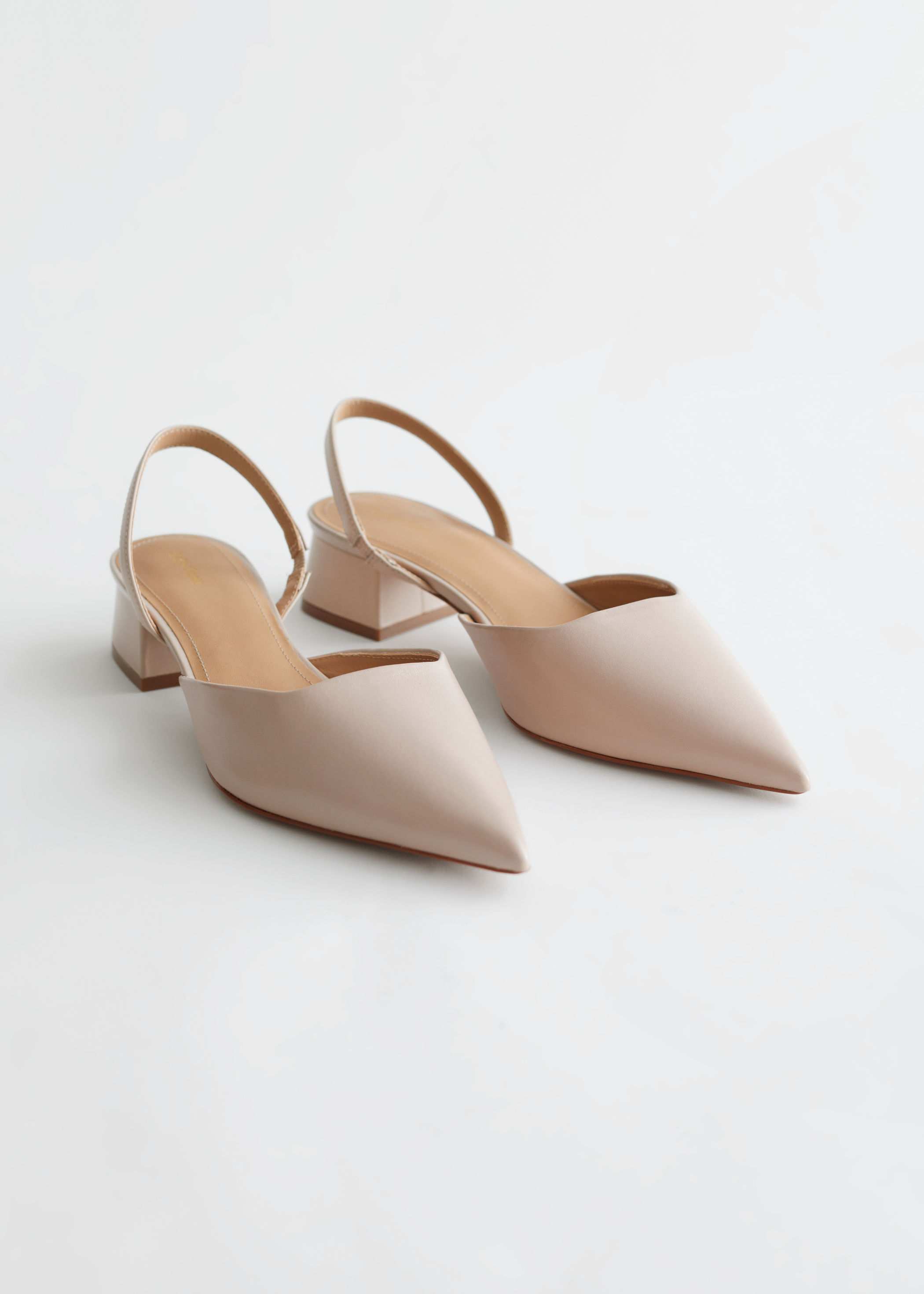 Leather Pointed Kitten Heel Mules & Other Stories