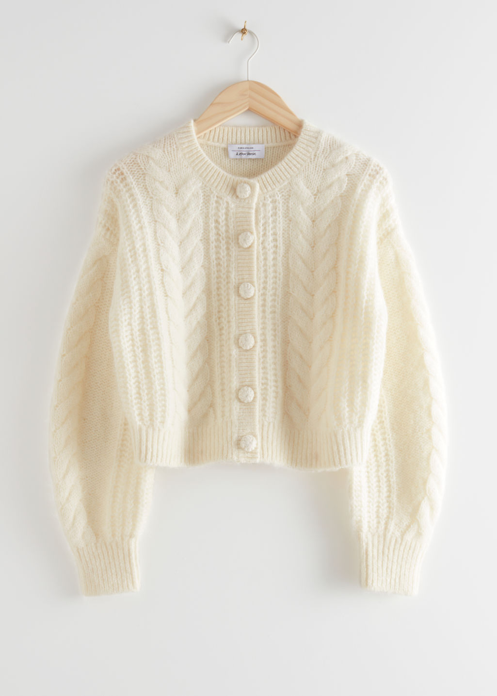StillLife Front Image of Stories Cropped Button Up Knit Sweater in White