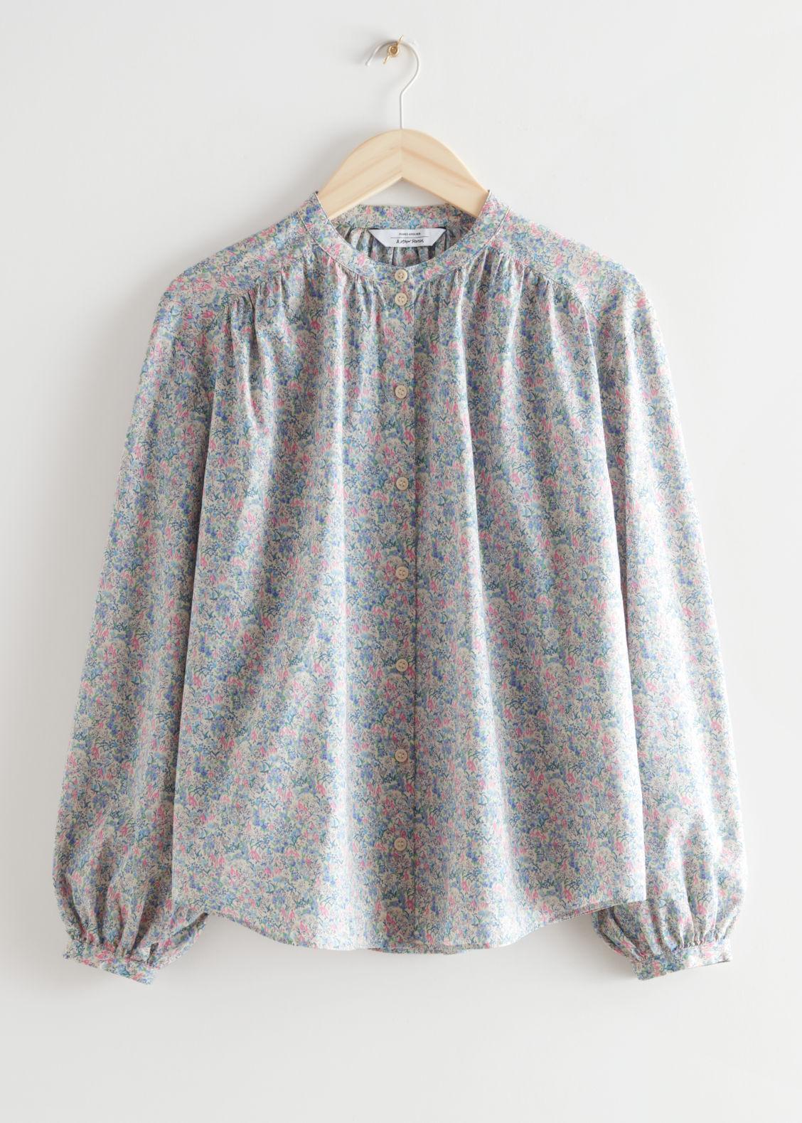 앤 아더 스토리즈 블라우스 & OTHER STORIES Printed Collarless Button Up Blouse,Floral Print