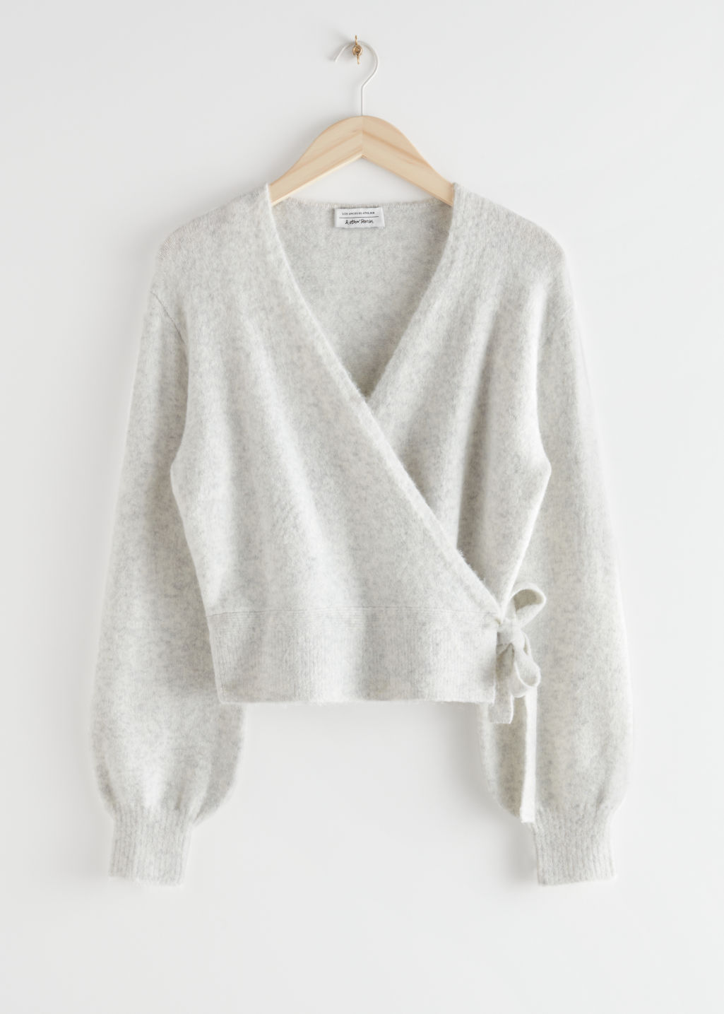 StillLife Front Image of Stories Wrap Cardigan in Beige