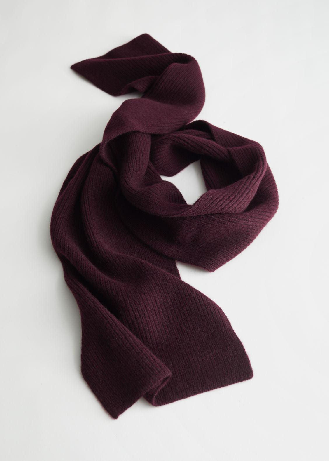 앤 아더 스토리즈 머플러 & OTHER STORIES Cashmere Ribbed Knit Scarf,Dark Red