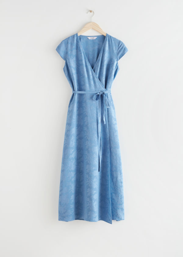 Jacquard Wrap Maxi Dress