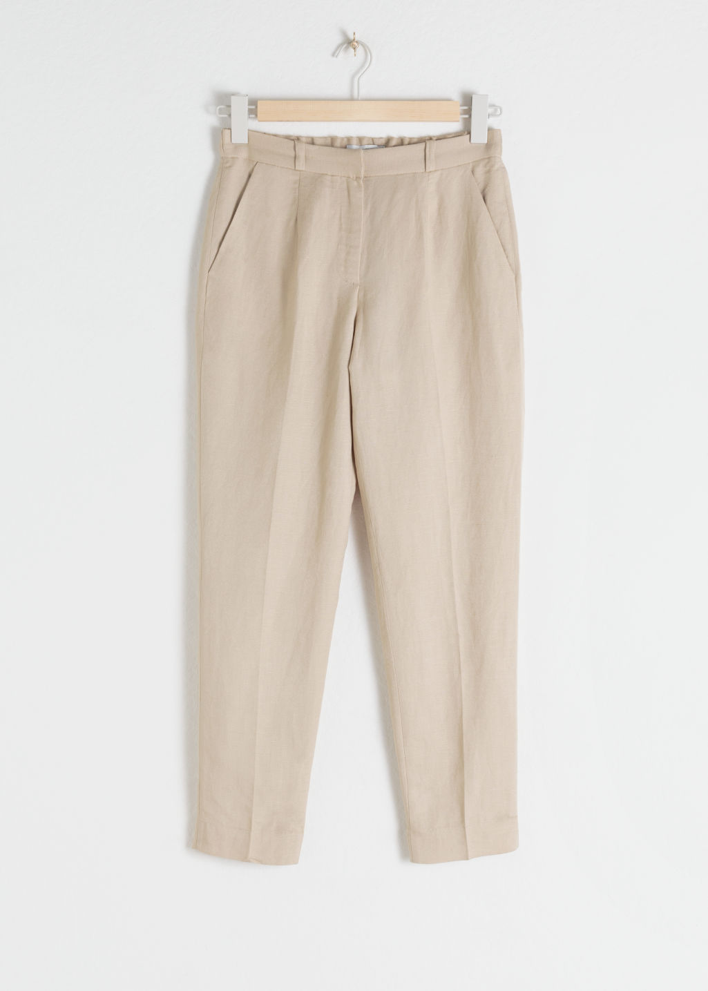 StillLife Front Image of Stories Tapered Cotton Trousers in Beige