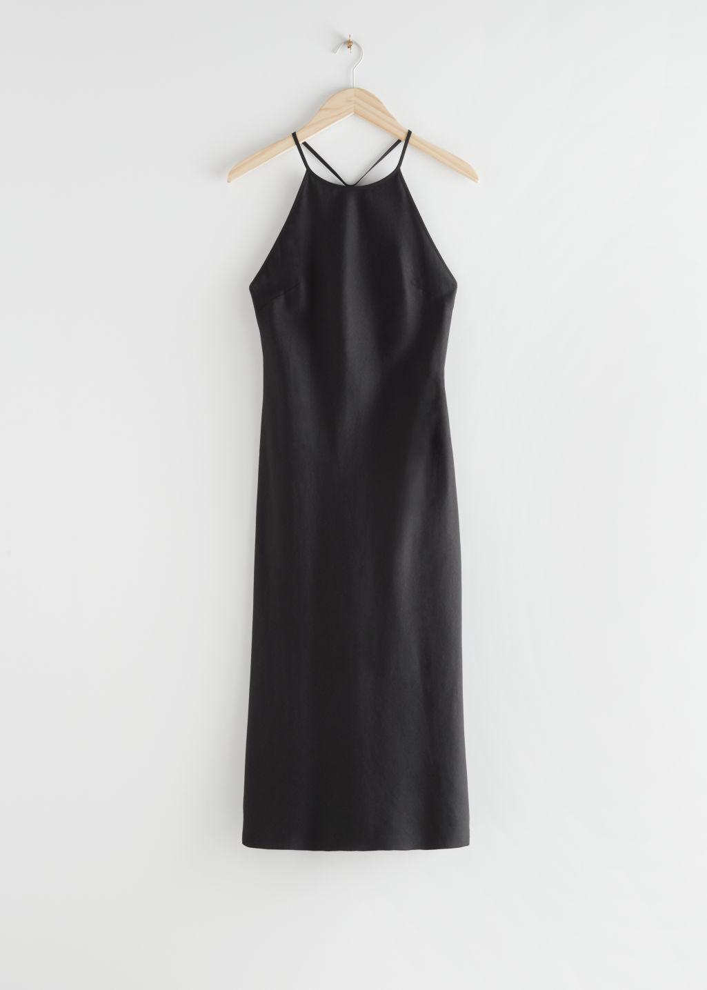 StillLife Front Image of Stories Back Strap Midi Dress in Black