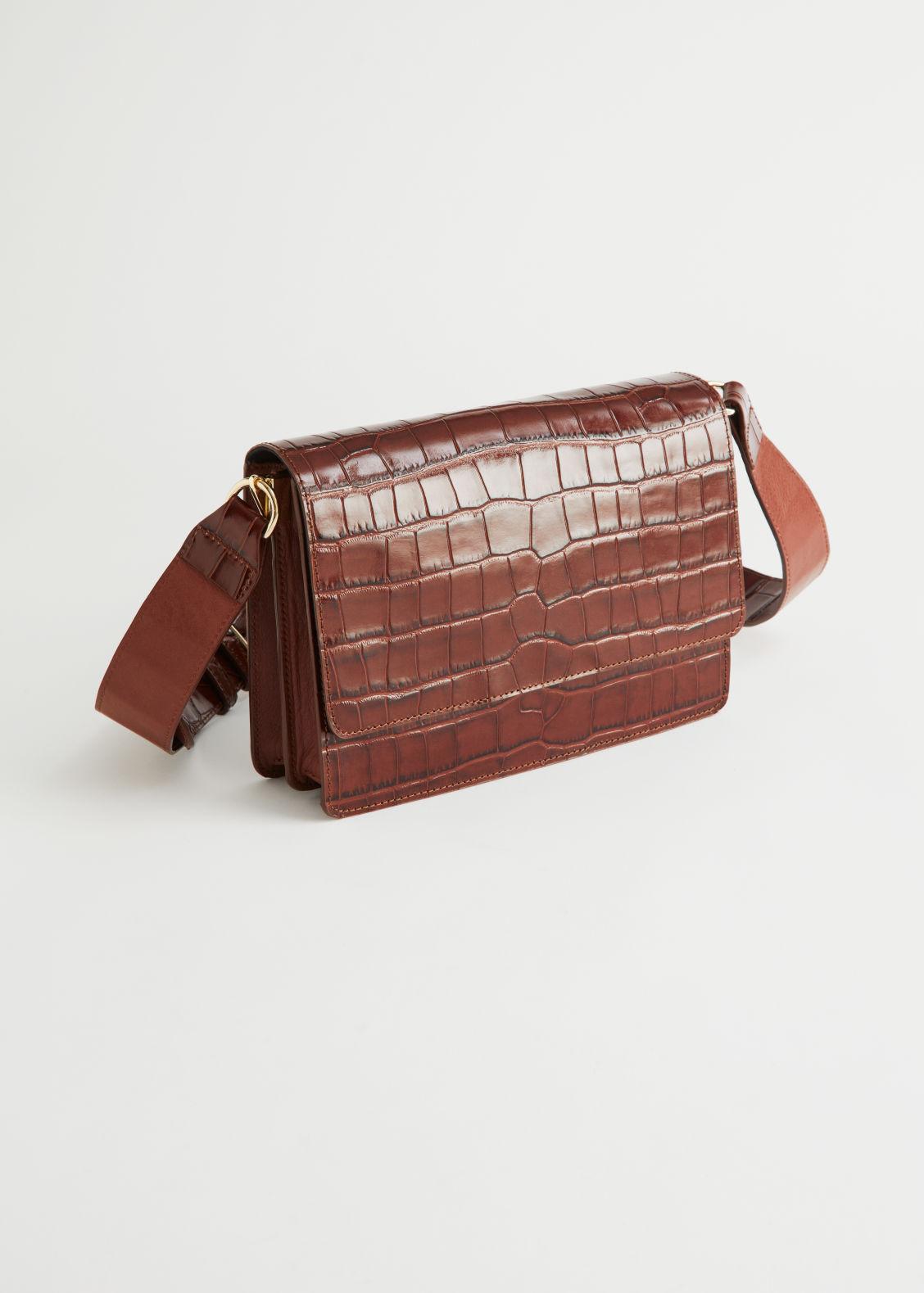 앤 아더 스토리즈 숄더백 & OTHER STORIES Patent Leather Croc Embossed Bag,Brown