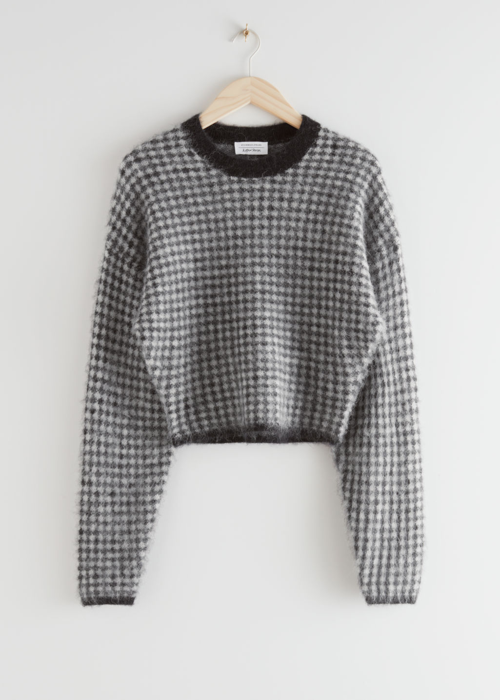 StillLife Front Image of Stories Fuzzy Jacquard Knit Sweater in Black