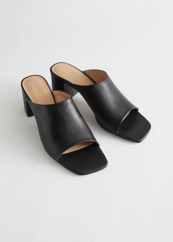 Squared Toe Heeled Leather Sandals