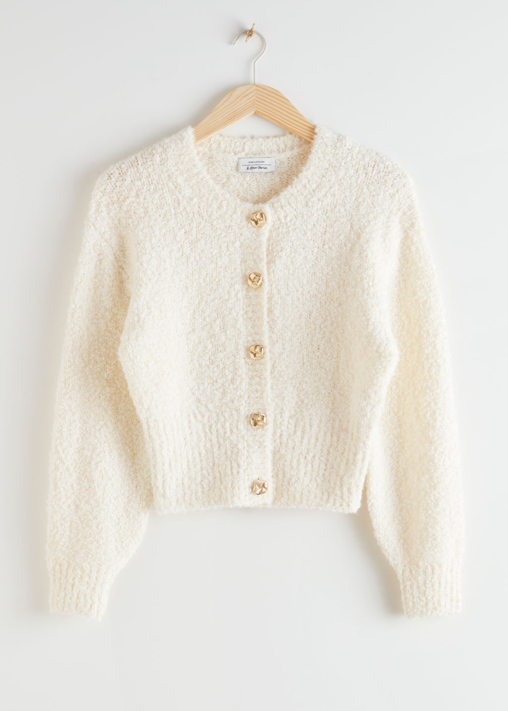 StillLife Front Image of Stories Bouclé Knit Cropped Cardigan in White