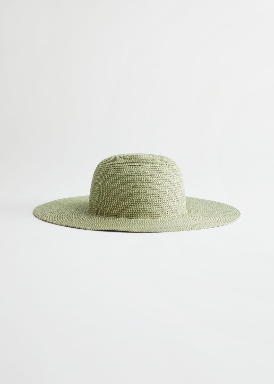 앤 아더 스토리즈 스트로우햇 & OTHER STORIES Wide Brim Straw Hat,Green