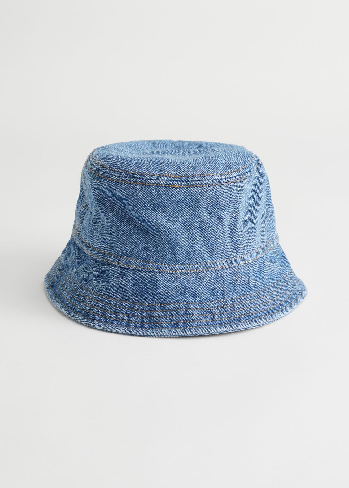앤 아더 스토리즈 버킷햇 & OTHER STORIES Topstitched Denim Bucket Hat,Light Blue
