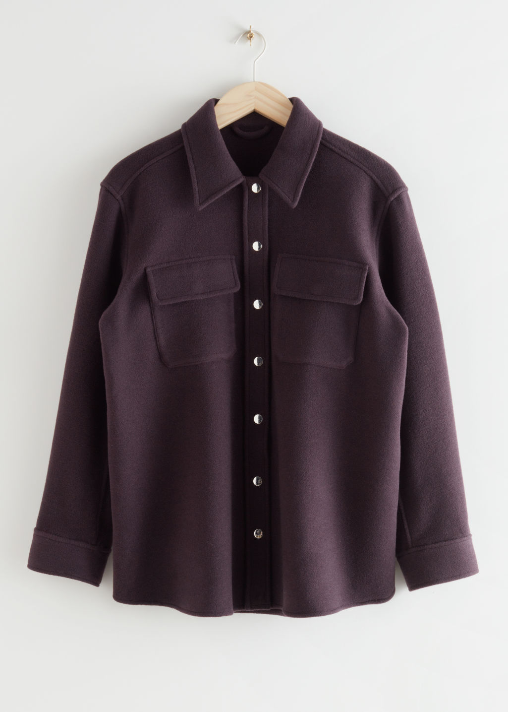 StillLife Front Image of Stories Oversized Wool Blend Workwear Shirt in Purple