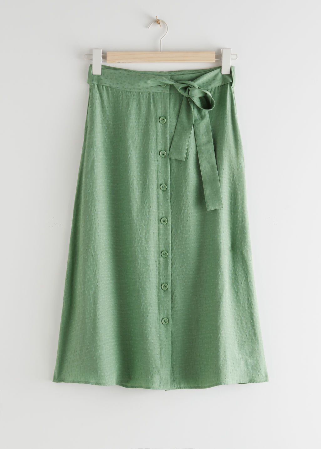 StillLife Front Image of Stories Buttoned Midi Skirt in Green