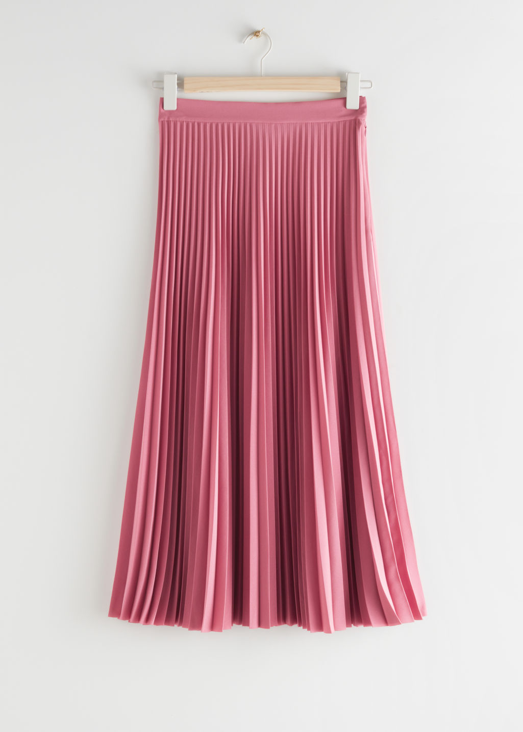 StillLife Front Image of Stories Pleated Midi Skirt in Pink