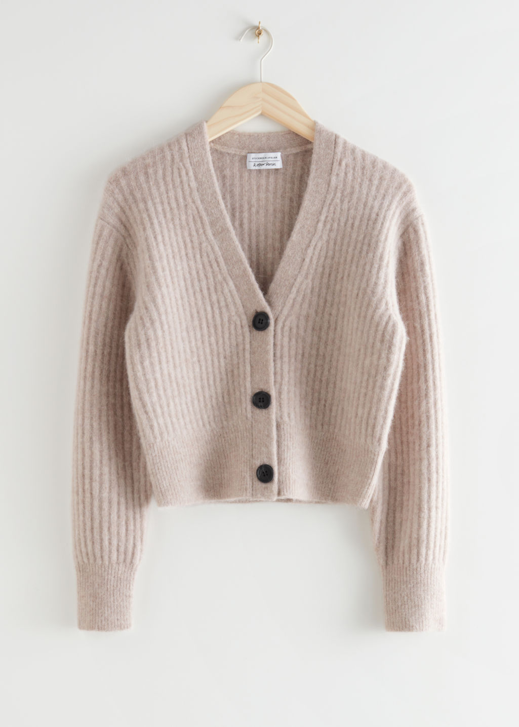 StillLife Front Image of Stories Cropped Ribbed Alpaca Blend Cardigan in Beige