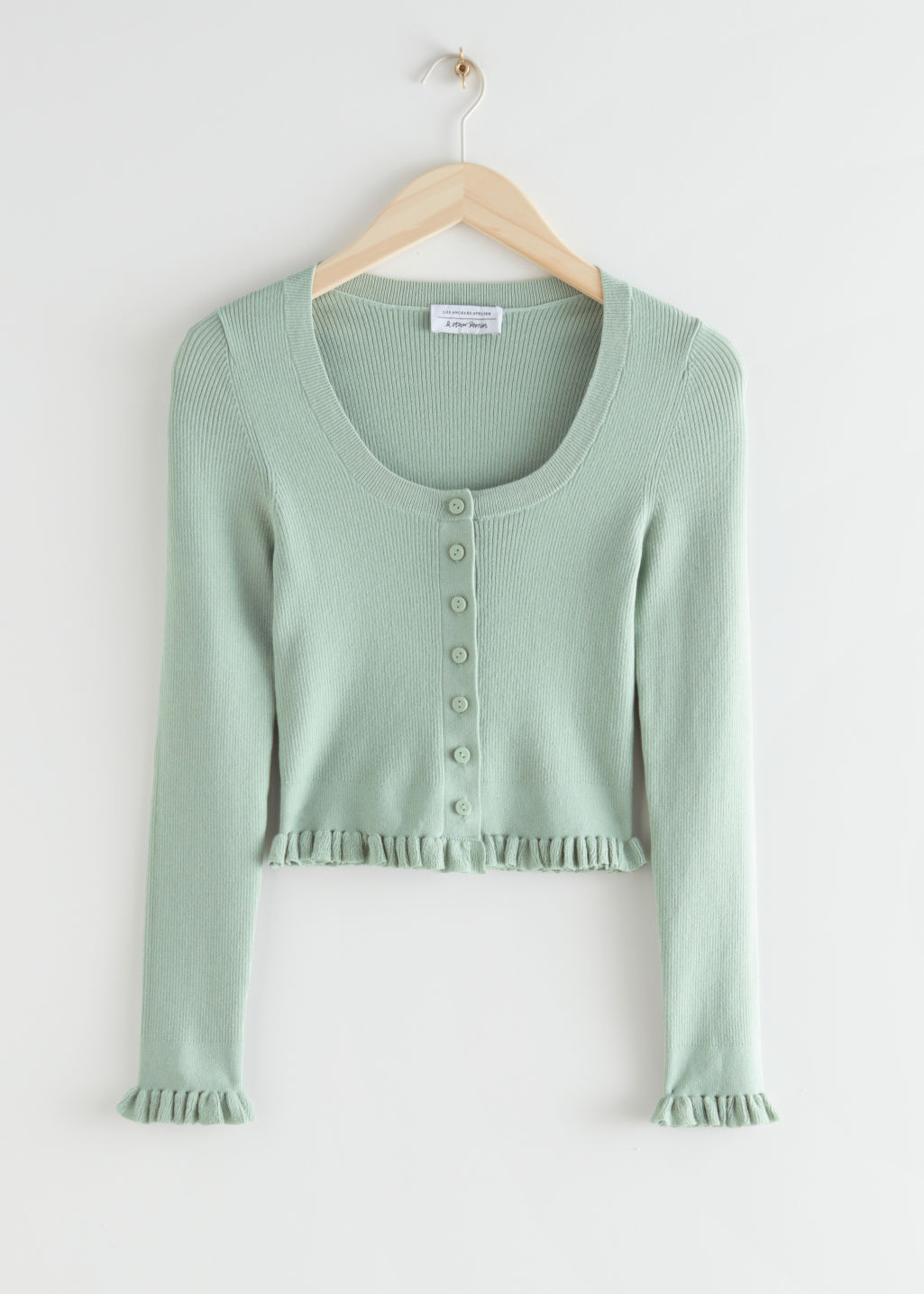 StillLife Front Image of Stories Fitted Contrasting Ruffles Top in Green