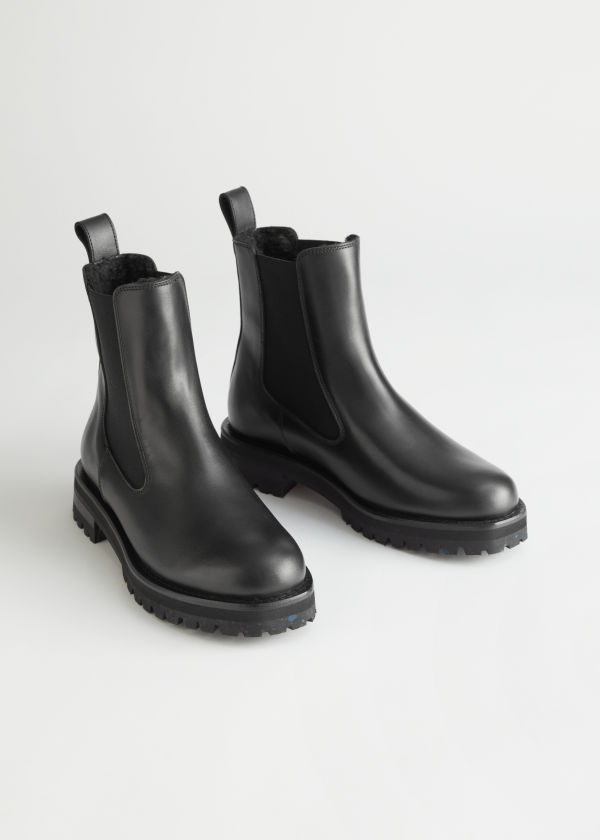 Teddy Lined Leather Chelsea Boots