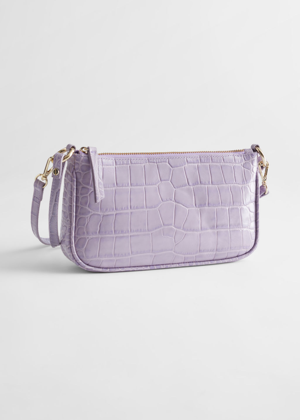 StillLife Front Image of Stories Croc Embossed Leather Shoulder Bag in Purple