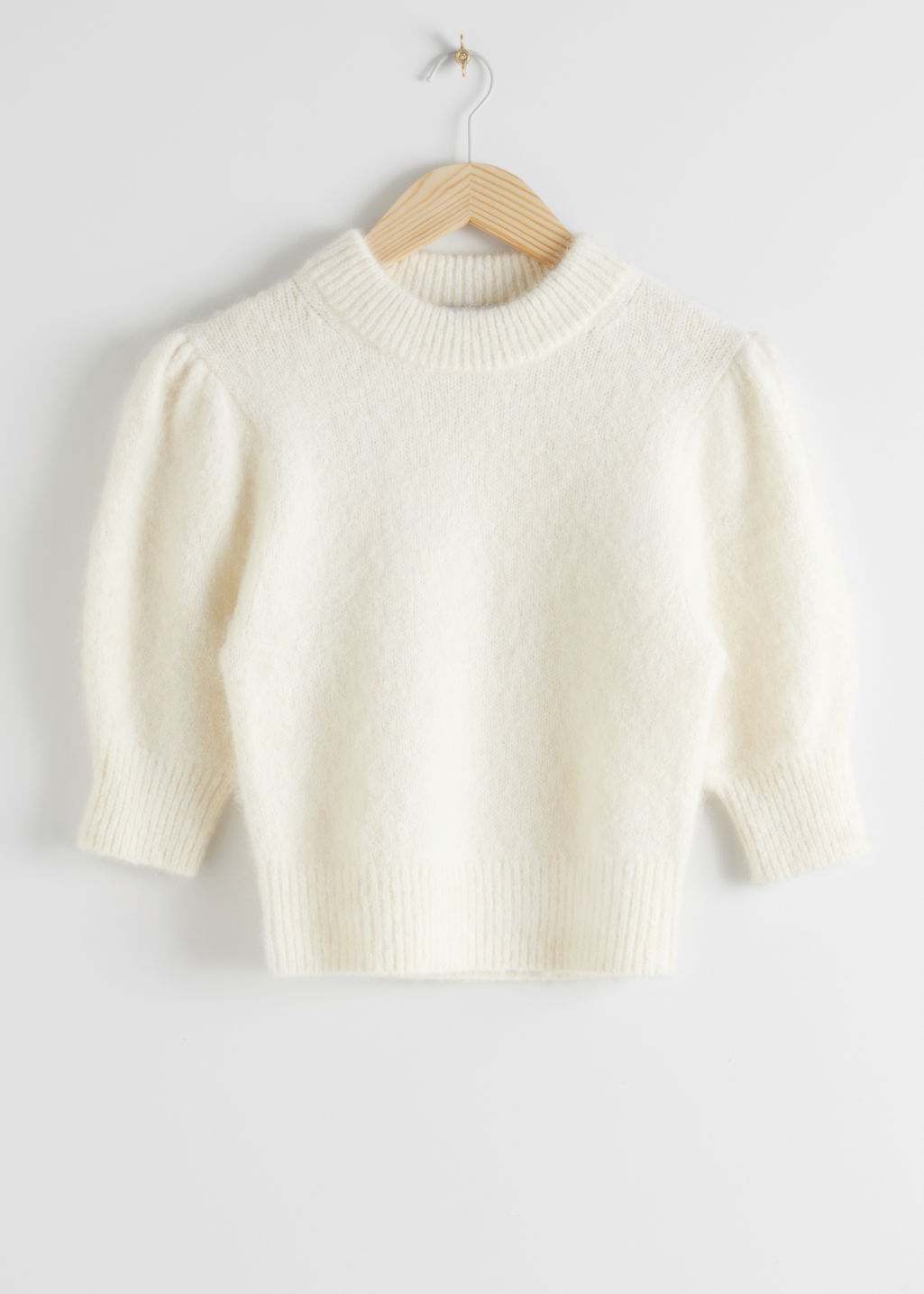 StillLife Front Image of Stories Alpaca Wool Blend Puff Sleeve Jumper in White