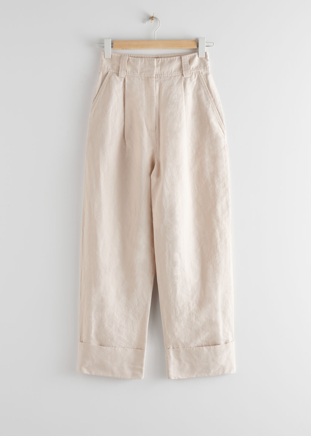 StillLife Front Image of Stories Wide Tailored Trousers in Beige