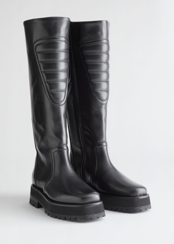 Topstitched Tall Leather Boots