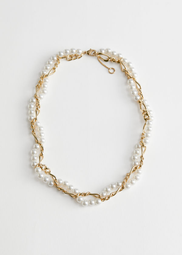 Twisted Pearl Chain Necklace