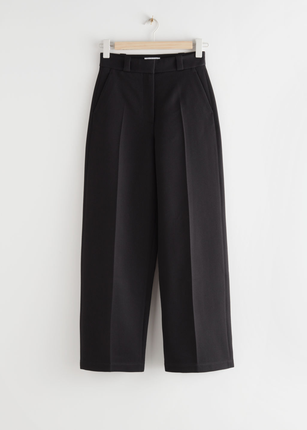 StillLife Front Image of Stories Wide Leg Wool Blend Twill Trousers in Black