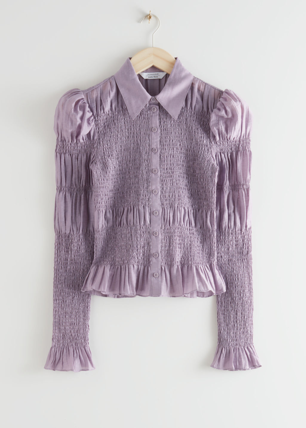 StillLife Front Image of Stories Fitted Smocked Shirt in Purple
