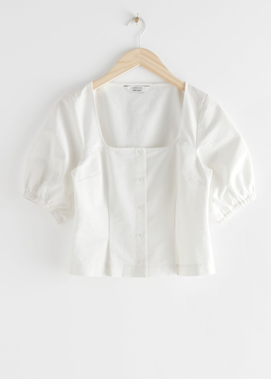 StillLife Front Image of Stories Square Neck Puff Sleeve Twill Top in White