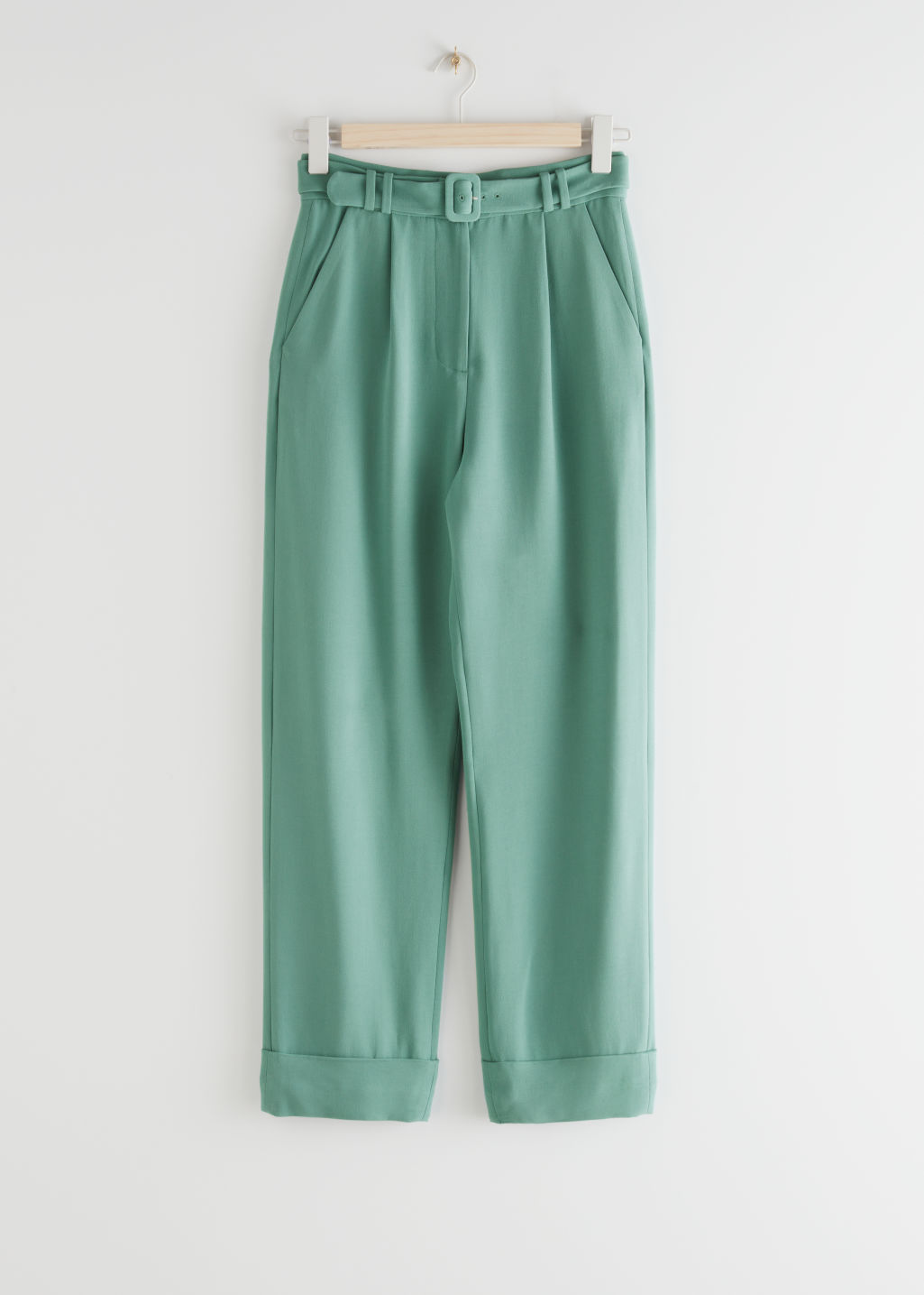 StillLife Front Image of Stories Belted High Waist Trousers in Green