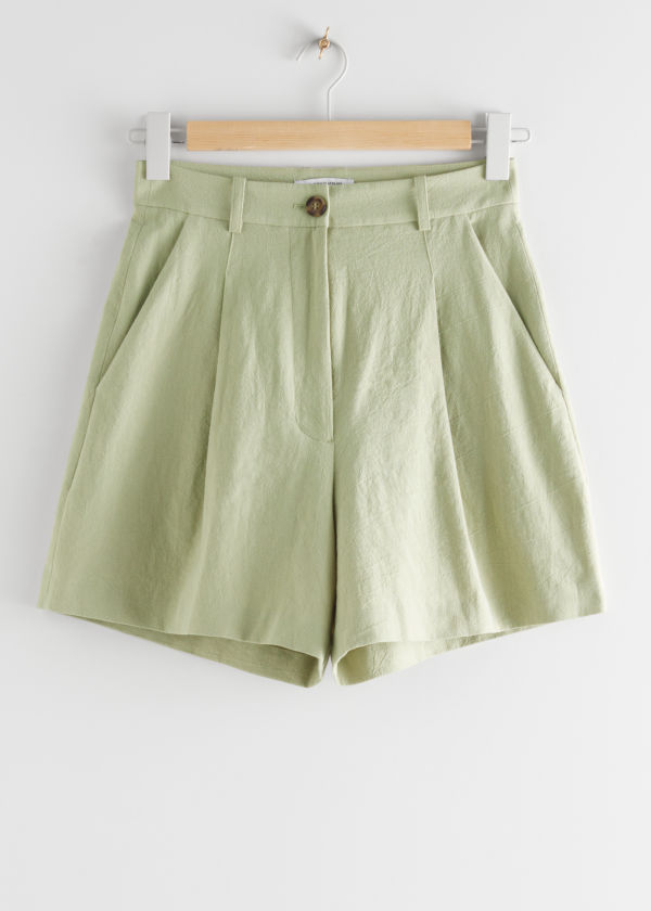 High-Waist-Shorts aus Leinenmix