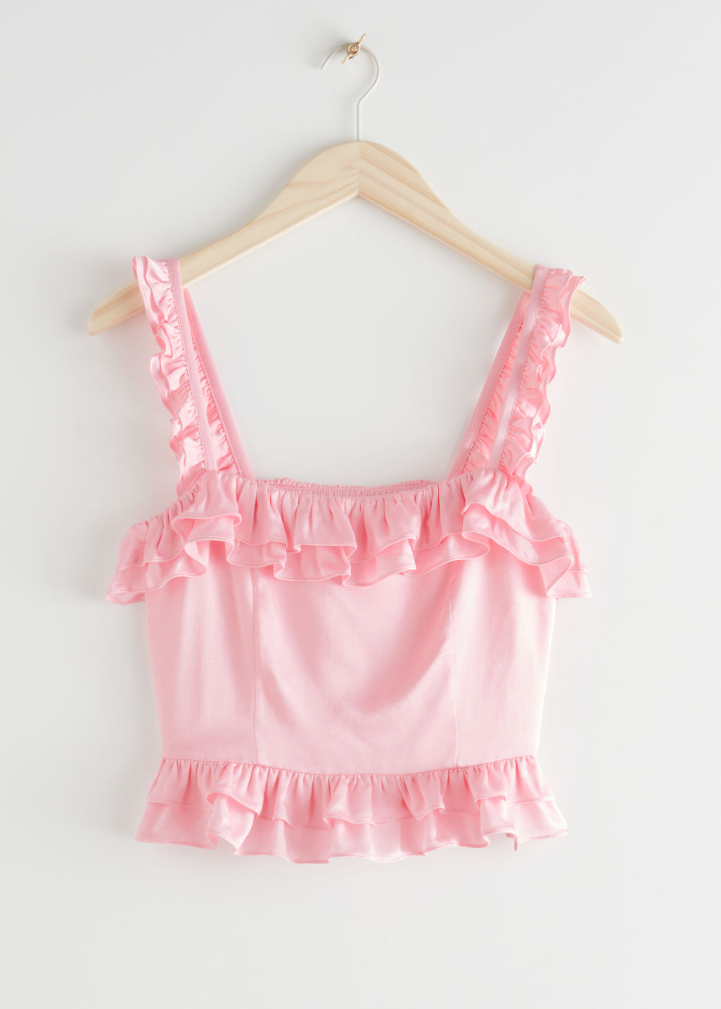 StillLife Front Image of Stories Square Neck Ruffle Crepe Top in Pink