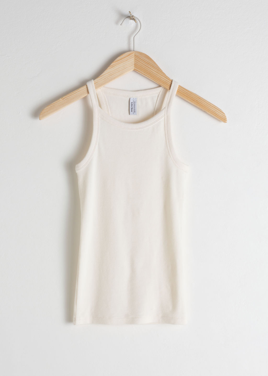 StillLife Front Image of Stories Racer Cut Cotton Tank Top in White