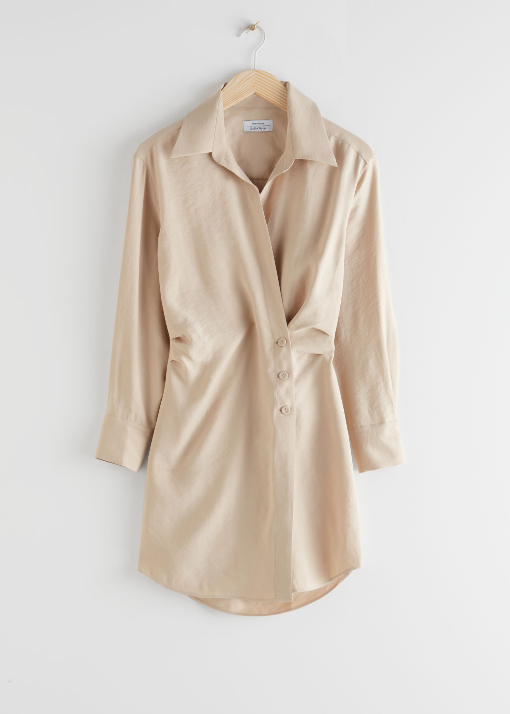 StillLife Front Image of Stories Asymmetric Mini Shirt Dress in Beige