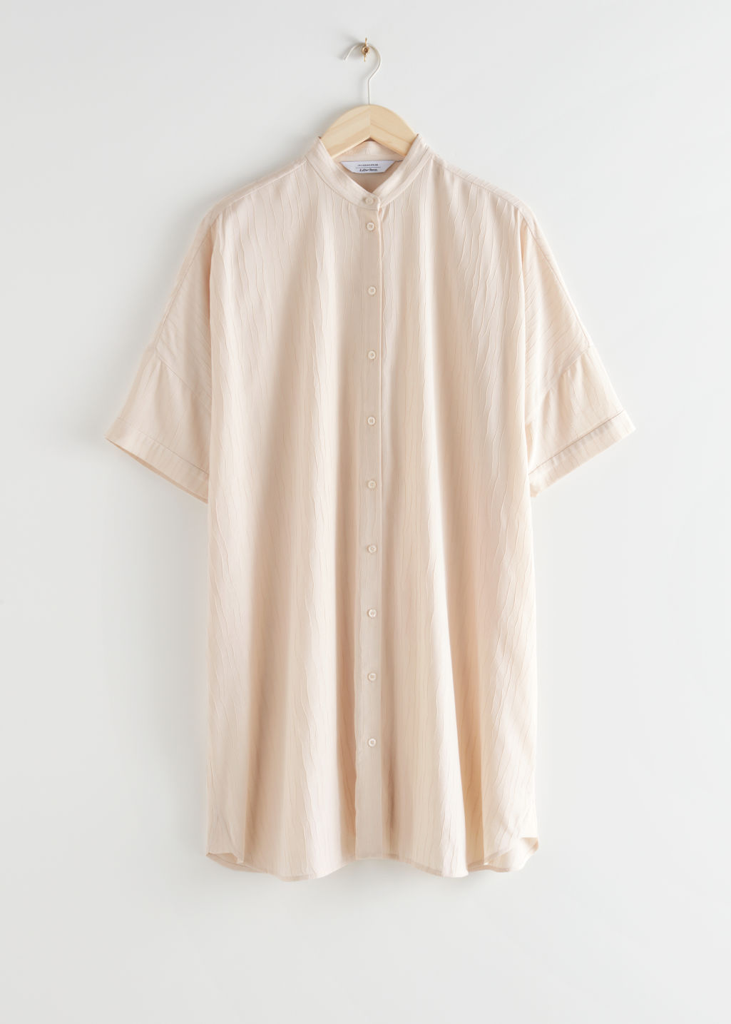 StillLife Front Image of Stories Oversized Shirt Dress in Beige