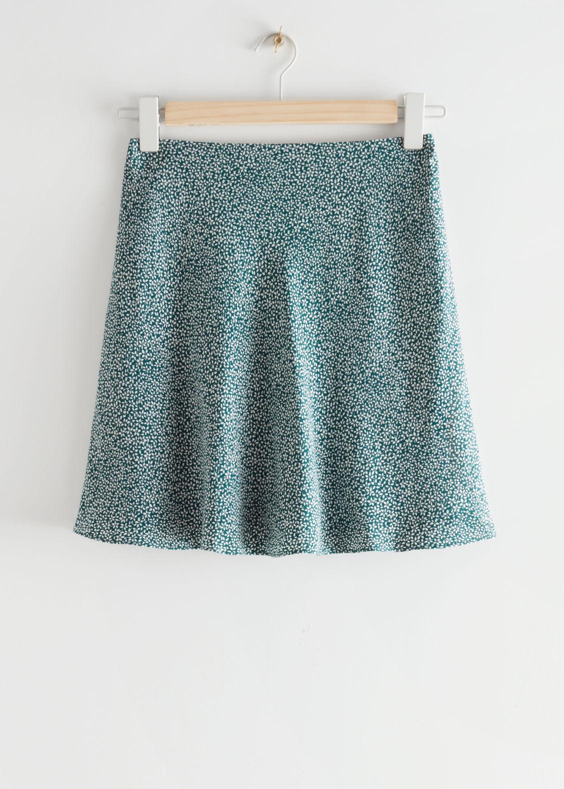 앤 아더 스토리즈 스커트 & OTHER STORIES Satin Mini Skirt,Green Print